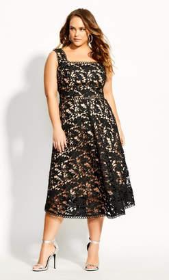 City Chic Lace Avery Dress - black