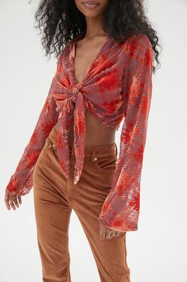 Urban Outfitters Margot Burnout Velvet Tie-Front Top