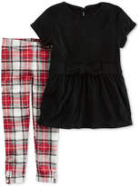 Carter's 2-Pc. Velour Top and Plaid Leggings Set, Baby Girls