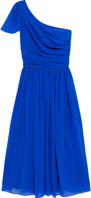 Mikael Aghal One-shoulder Pleated Georgette Dress