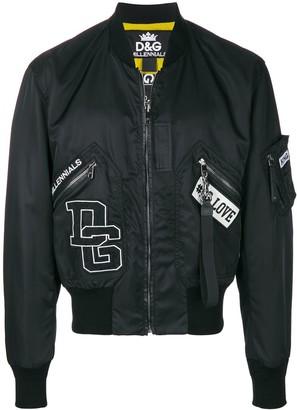 Dolce & Gabbana Letterman Rib Trim Bomber Jacket