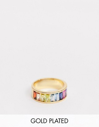 Asos Design DESIGN gold plated ring with baguette rainbow cubic zirconia crystals