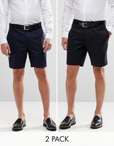 Asos 2 Pack Skinny Tailored Chino Shorts In Black And Navy