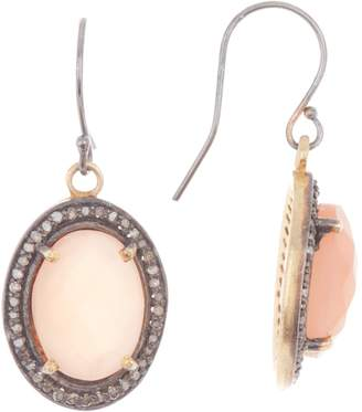 Adornia Fine Oval Faceted Peach Moonstone Diamond Halo Earrings