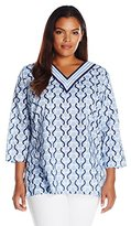 Caribbean Joe Women's Plus Size Three Quarter Sleeve V Printed Tunic with Contrast Neck Trim