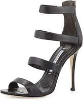Charles David Olina Strappy Leather Sandal, Black