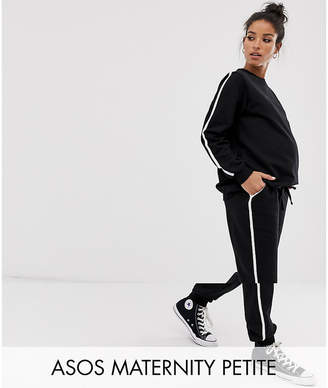 Asos DESIGN Maternity Petite tracksuit cute sweat / basic under the bump jogger with tie with contrast binding-Black