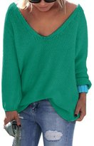 Sarin Mathews Womens Casual Autumn Deep V Neck Solid Loose Knit Pullover Sweater XL