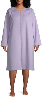 Adonna Womens Long Sleeve Knit Knee Length Robe - Plus