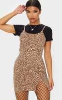 PrettyLittleThing Brown Leopard Print 2 In 1 Strappy Split Front Shift Dress