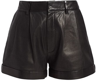 RE/DONE 80s Pleated Leather Shorts