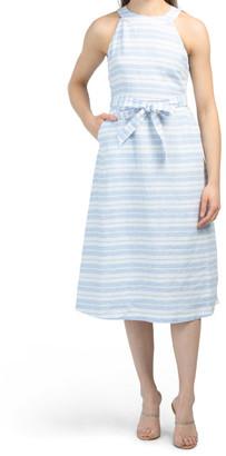 Dutch Stripe Linen Midi Dress