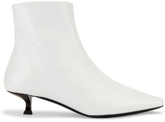 BY FAR Laura Leather Boot in White   FWRD