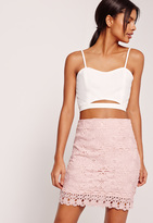 Missguided Lace Mini Skirt Pink