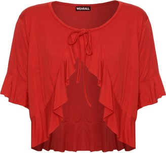 WearAll Plus Size Womens Plain Tie Up Short Sleeve Ladies Frill Shrug Top - Red - 16-18