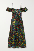 Thumbnail for your product : HVN Ruby Cold-shoulder Ruffled Floral-print Silk-satin Midi Dress - Black