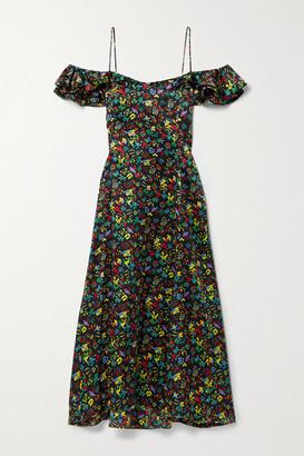HVN Ruby Cold-shoulder Ruffled Floral-print Silk-satin Midi Dress - Black