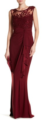 Marina Cascading Ruffle Front Sequins Gown