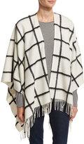 Neiman Marcus Wool Grid-Print Ruana Wrap, White/Black