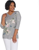 Factory Quacker Floral Printed 3/4-Sleeve Knit Top with Rhinestones