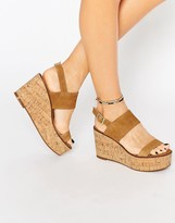 Steve Madden Caitlyn Tan Suede Cork Wedge Sandals
