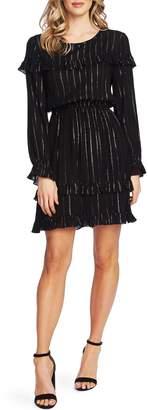 Cece By Cynthia Steffe Metallic Stripe Ruffle Dress