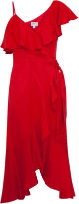 Jovonna London Red Zaida Asymmetric Wrap Dress - UK8 - Red
