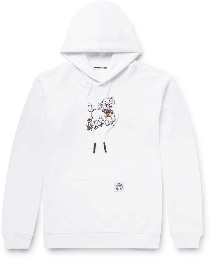 McQ Printed Fleece-Back Cotton-Jersey Hoodie - Men - White
