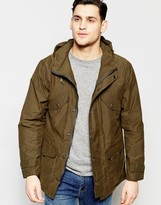 Lee Hooded Parka Waxed Cotton In Green