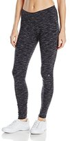 Danskin Women's Supplex Ankle Legging with Wide Waistband, Black Space Dye, Small