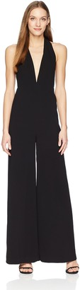 Halston Women's Sleeveless Halter Neck Jumpsuit with Strappy Back