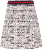 Gucci A-Line Embroidered Tweed Crystal Skirt