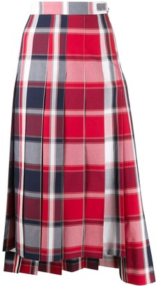 Thom Browne pleated check midi skirt