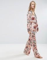 Asos PREMIUM Mixed Floral & Tile Print Satin Long Leg Pant