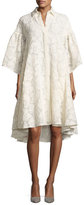 Co Floral Fil Coupé; Flared-Sleeve High-Low Shirtdress, Ivory
