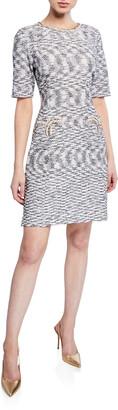 Misook Half-Sleeve Tweed Sheath Dress
