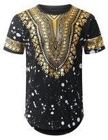 URBANCREWS Mens Hipster Hip Hop Dashki Foil Print Longline T-shirt BLACK, L