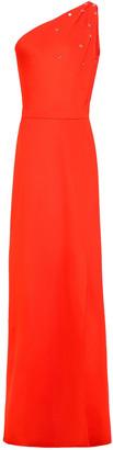 Lanvin One-shoulder Cutout Crystal-embellished Stretch-ponte Gown
