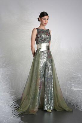 Tony Ward Sequin Embellished Jumpsuit w/ Over-Skirt