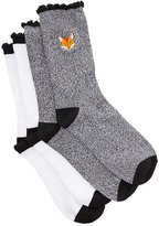 Charlotte Russe Fox Patch Crew Socks - 2 Pack