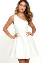 Do & Be Unconditional Love White One Shoulder Skater Dress