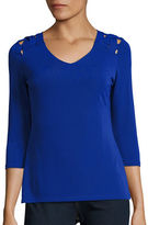 Context Lattice Three-Quarter Sleeve Top