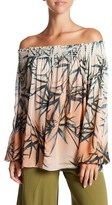 Nicole Miller Sunset Palms Off-the-Shoulder Blouse