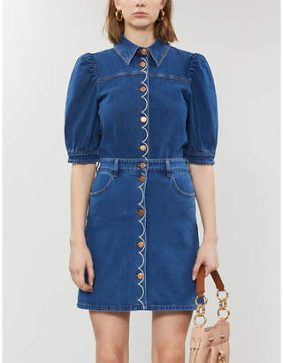 See by Chloe Scalloped-trim stretch-denim shirt