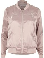 River Island Womens Light pink glam satin bomber jacket