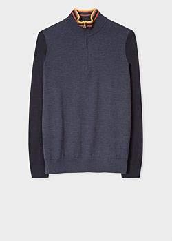 Men's Charcoal Grey Funnel Neck Merino Wool Half-Zip Sweater With 'Artist Stripe' Collar