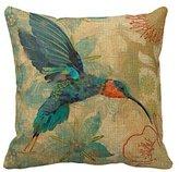SIXSTARS Cotton Linen Square Fashion Blue Orange Hummingbird Bird Teal Aqua Red Flowers Pillowcases