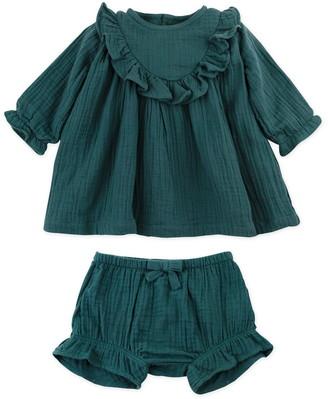 Oliver & Rain Pine Cone Organic Cotton Gauze Ruffle Dress