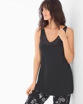 Soma Intimates Lace Trim Pajama Tank Black