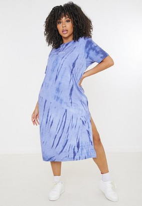 Missguided Size Blue Tie Dye Midi T Shirt Dress